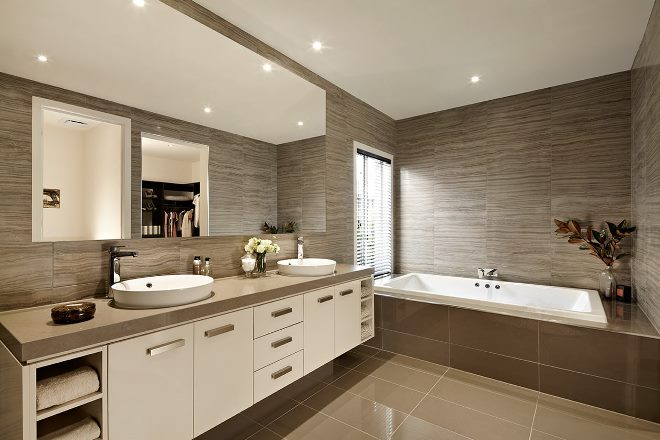 Интерьер ванной в коричневой гамме