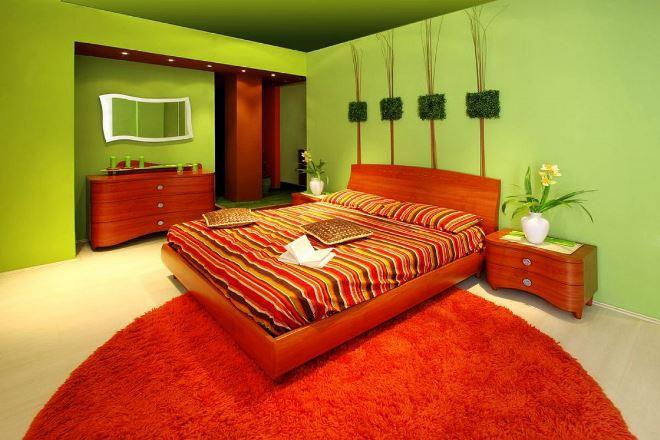 Красно-зелёный цвет в интерьере