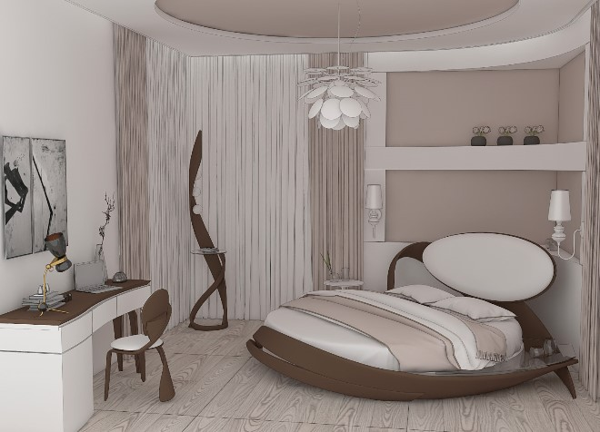 Цветовая палитра и дизайн круглой кровати