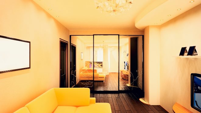 Дизайн шкафа-купе в однокомнатной квартире