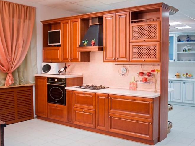 Кухни из бука: однотонная классика