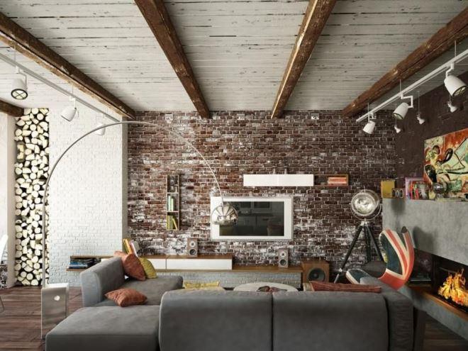 Одна из стен из кирпича