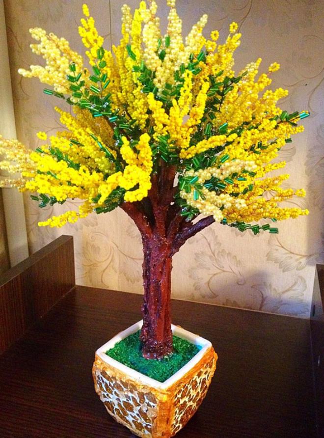 Красивые деревья из бисера:  не так сложно, как кажется