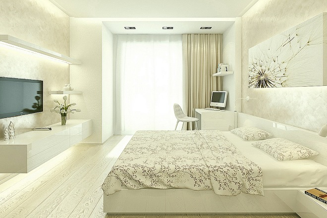 Подбираем декор и освещение спальни с балконом