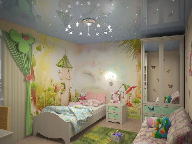 Натяжные потолки в детской комнате
