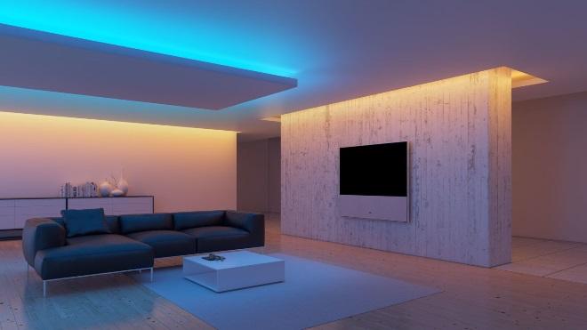Натяжные потолки с подсветкой в интерьере