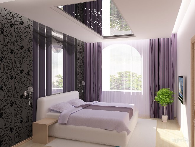 Натяжной потолок в спальном помещении