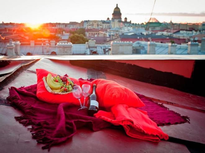 Романтический вечер для любимого на крыше