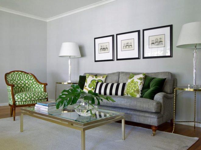 Серо-зелёный цвет в интерьере