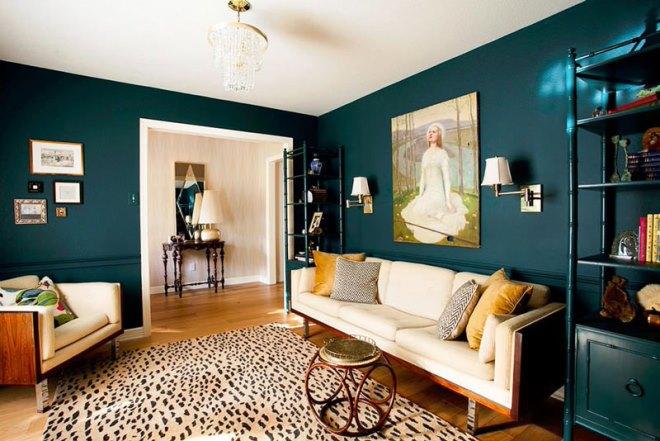 Сине-зелёный цвет в интерьере