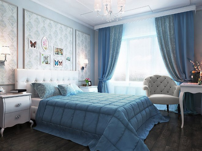 Сочетание голубых обоев в спальне с мебелью и текстилем