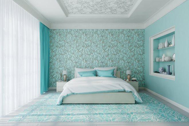 Виды голубых обоев в спальню