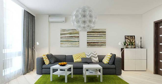 Зеленые акценты в интерьере комнат