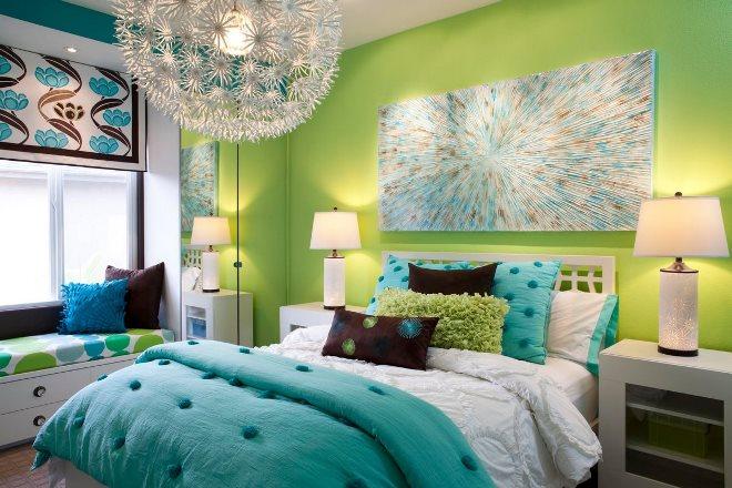 Зелёно-голубой цвет в интерьере