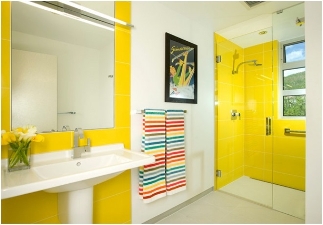 Желтые стены в интерьере