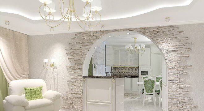 Гипсокартонные конструкции между кухней и гостиной