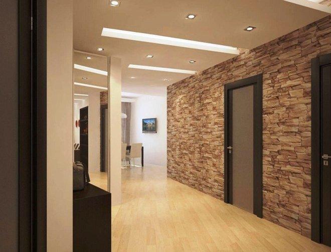 Камень в интерьере прихожей и коридора