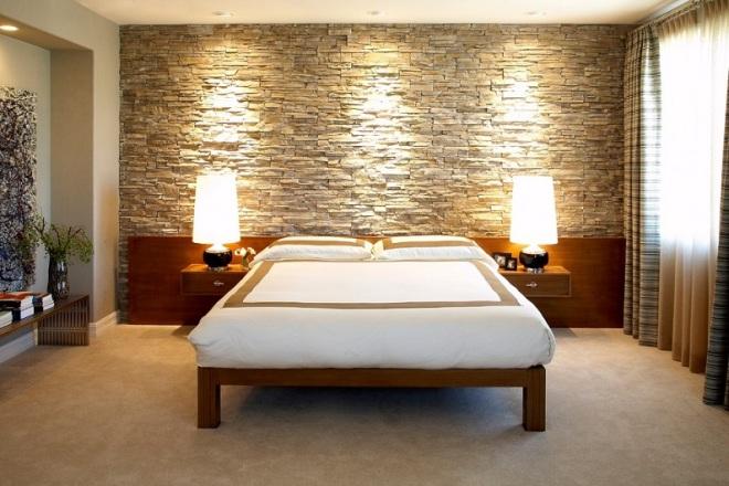 Камень в интерьере спальни