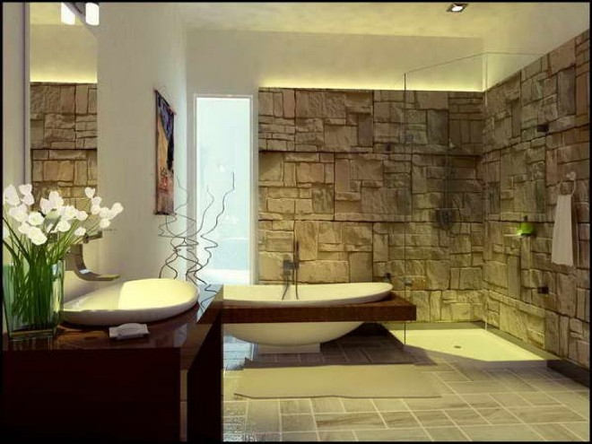 Камень в интерьере ванной