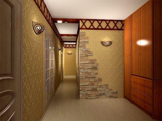 Комбинированная отделка стен в прихожей