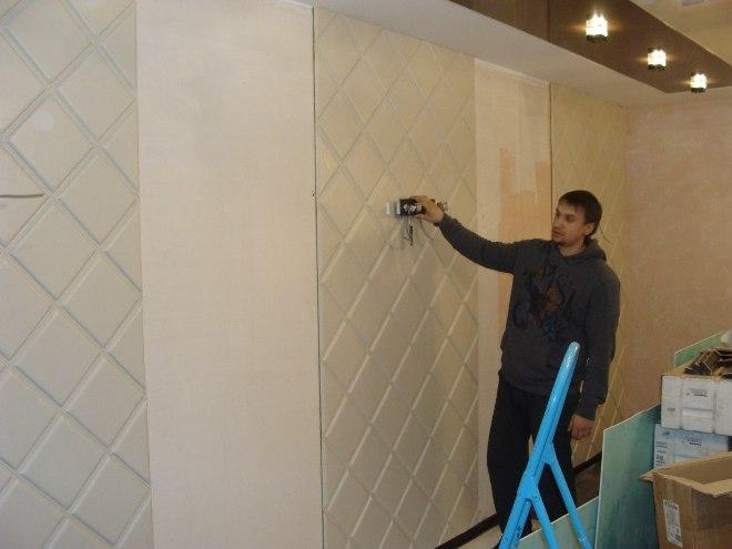 Монтаж мягких стеновых панелей