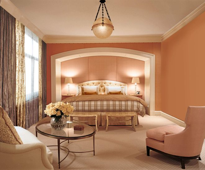 Оттенки персикового цвета в интерьере