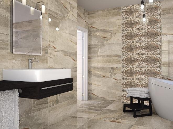 Плитка под мрамор для ванной комнаты