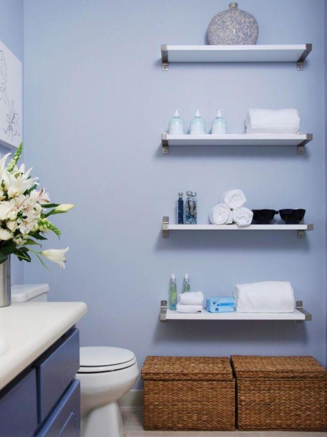 Полки в ванную комнату: фото, виды, материалы изготовления