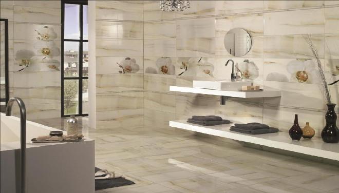 Типы плитки для ванной под мрамор