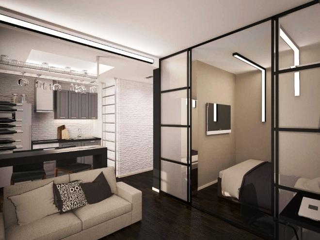 Зонирование квартиры при помощи перегородок