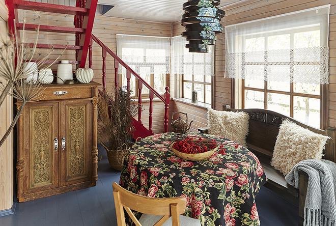 Интерьер загородного дома в русском стиле