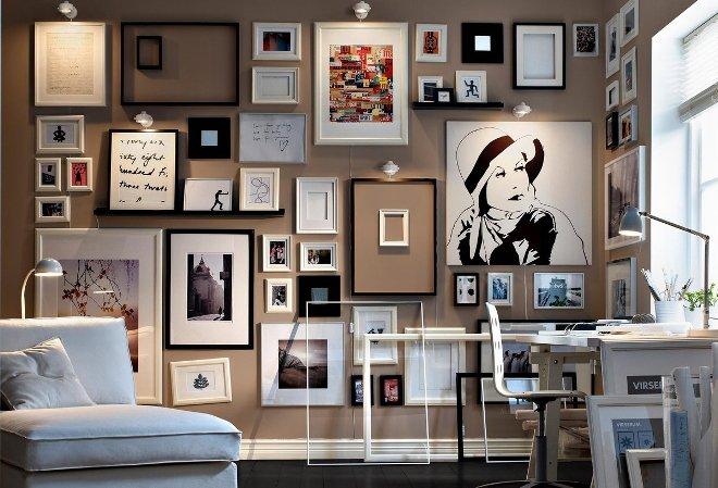 Оформление стены фотографиями