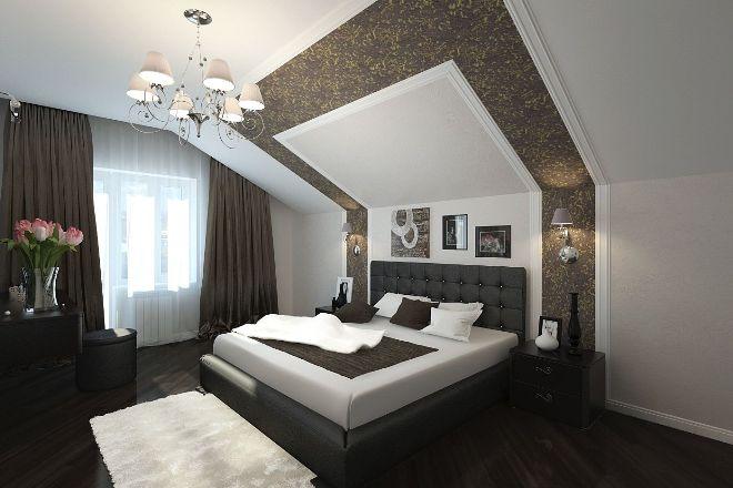 Отделка стен, пола и потолка спальни на мансарде