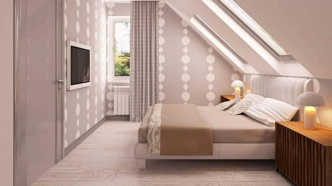 Планировка и расстановка мебели в спальне на мансарде