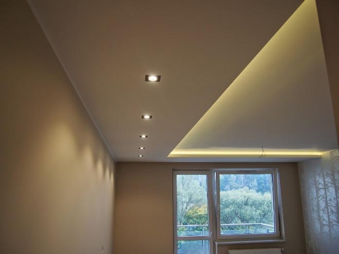 Подсветка потолка из гипсокартона на кухне