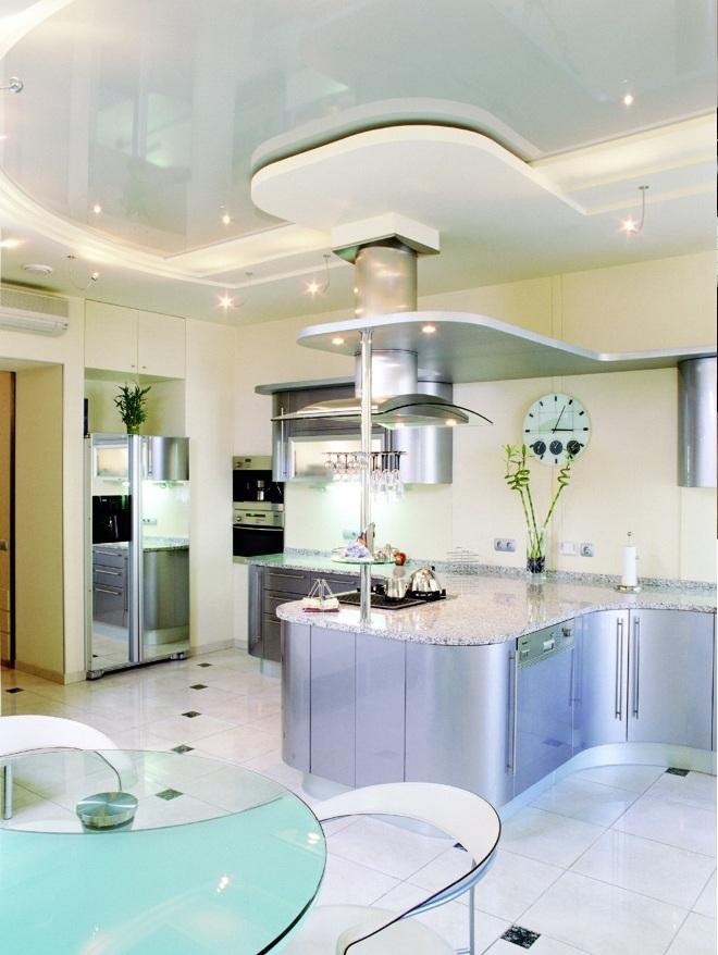 Потолок из гипсокартона для кухни