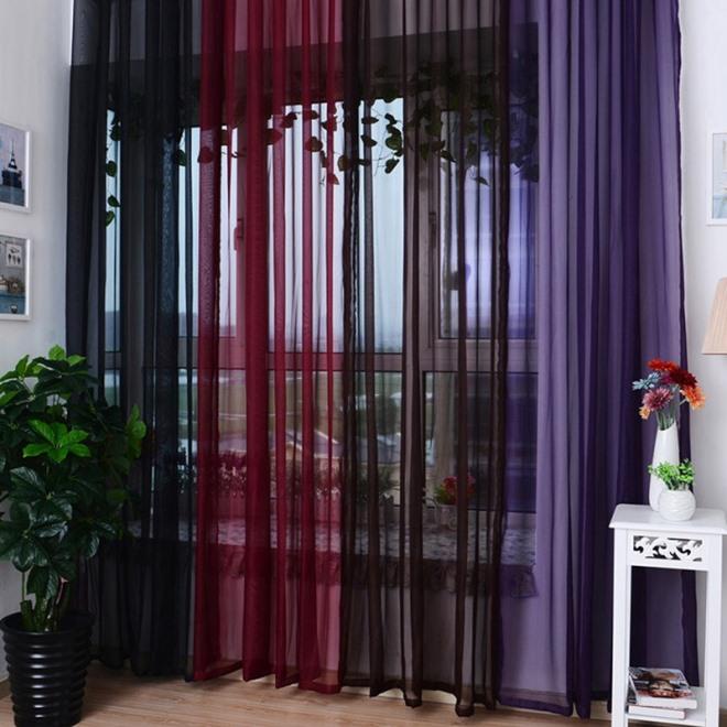 Шторы из вуали двух цветов для зала