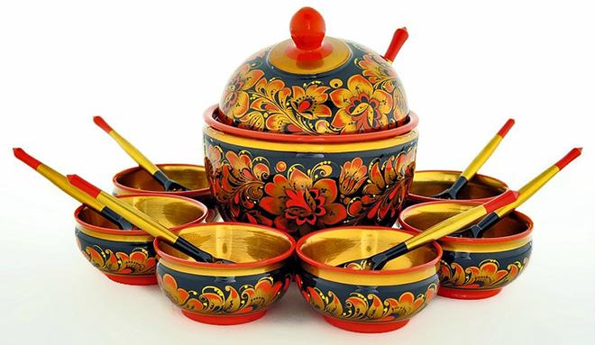 Посуда с хохломской росписью из разных материалов