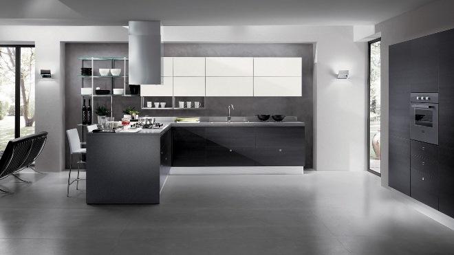 Серая кухня в стиле модерн