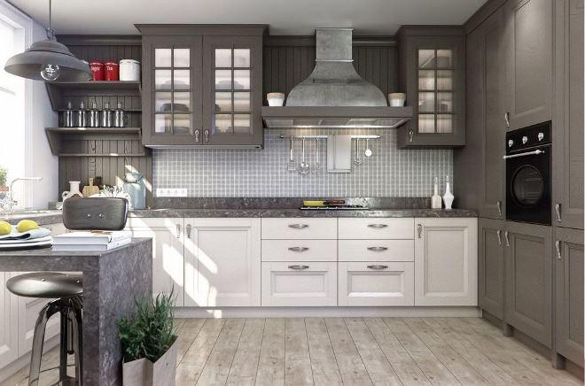 Серая кухня в стиле неоклассики