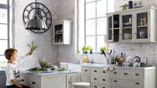Серая кухня в стиле ретро