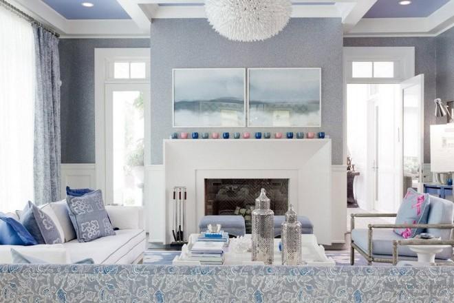 Серый и голубой – вариант для гостиной