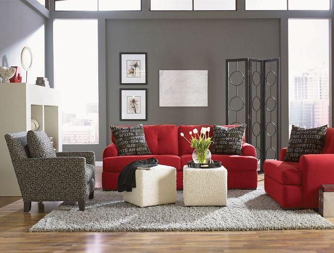 Серый и красный: идея для гостиной