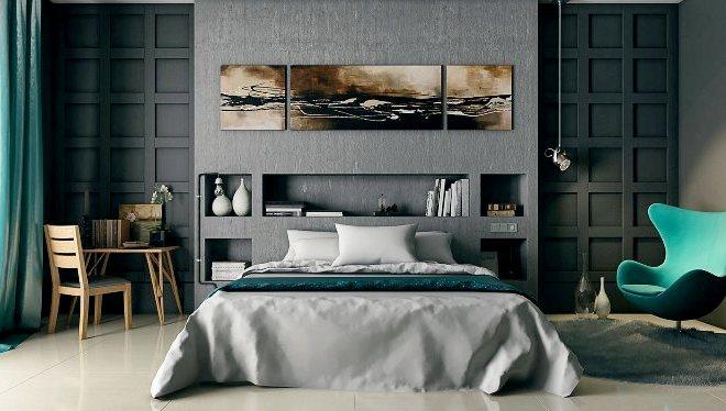 Серый цвет в спальне