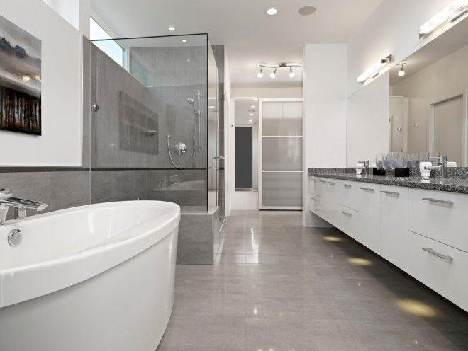 Серый цвет в ванной комнате