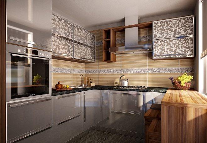 Сочетание серого и бежевого на кухне