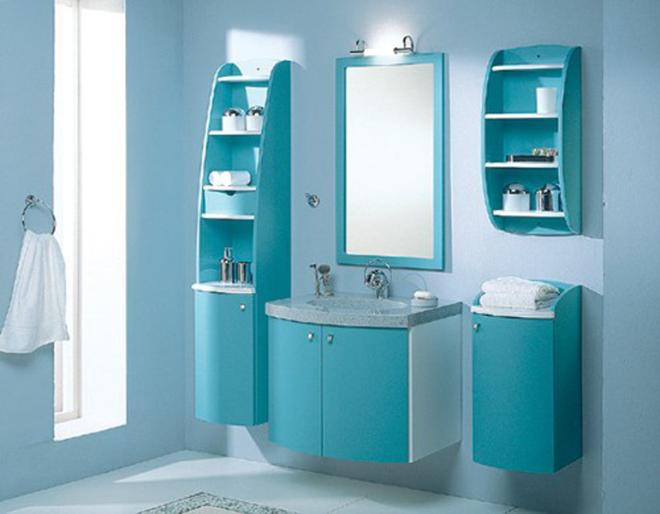 Цветной шкаф в ванную