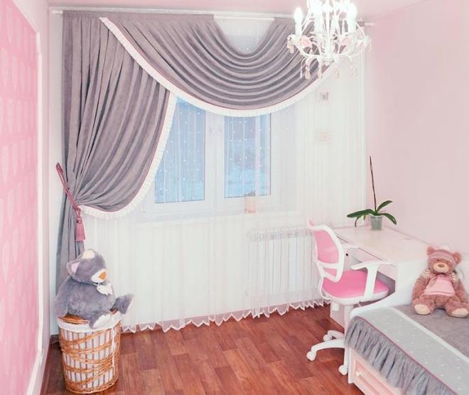 Дизайн штор в комнату девочки
