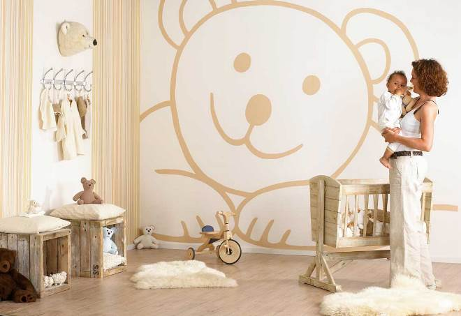Дизайн обоев в комнату новорожденного