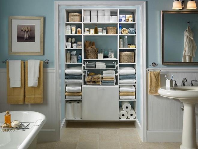 Встроенные шкафчики в ванную